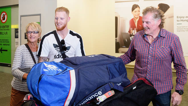 Ben Stokes pictured with mum Deborah and dad Gerard