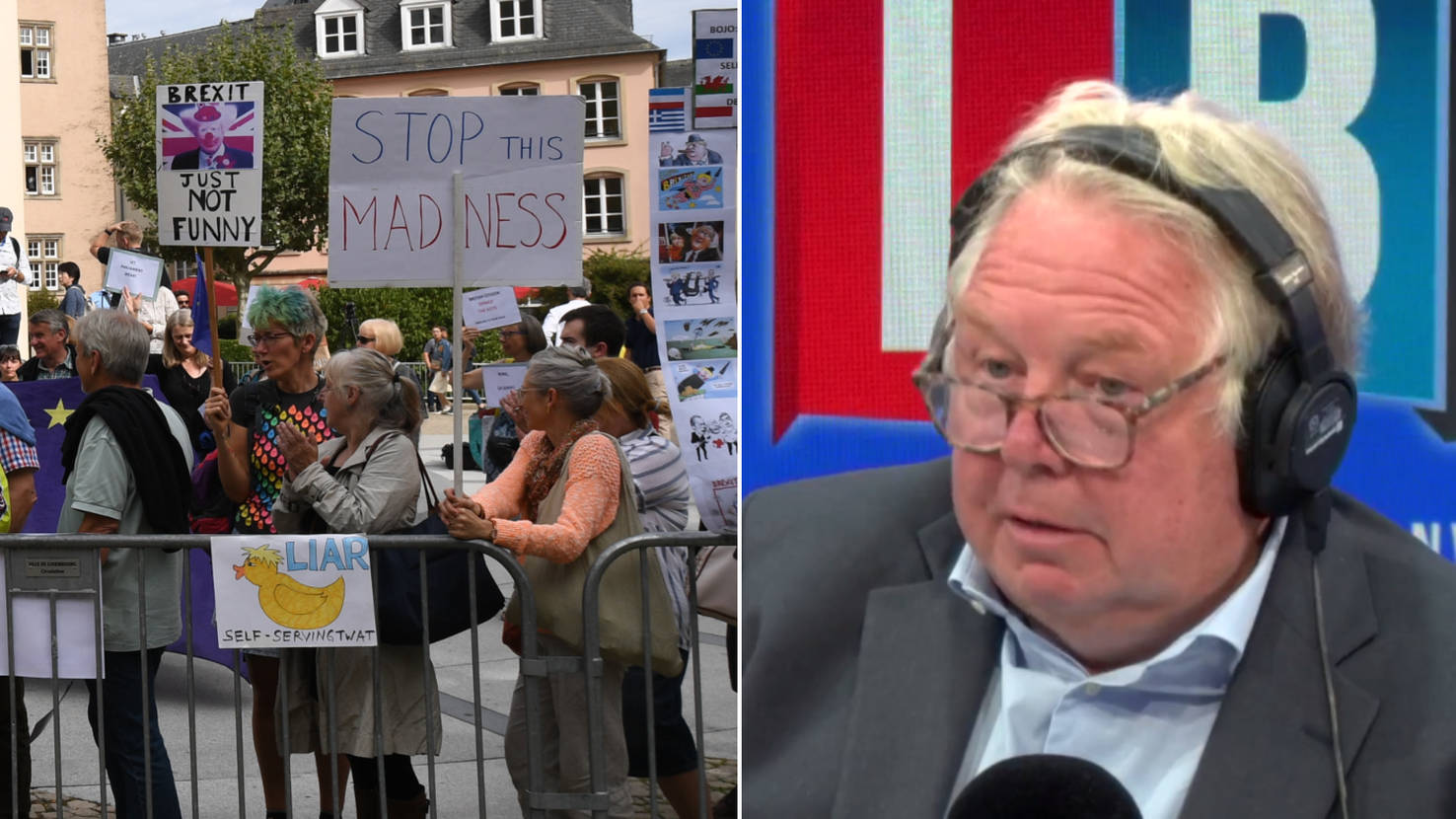 Luxembourg Protester Calls LBC To Reveal What REALLY Happened In Johnson Press Conference