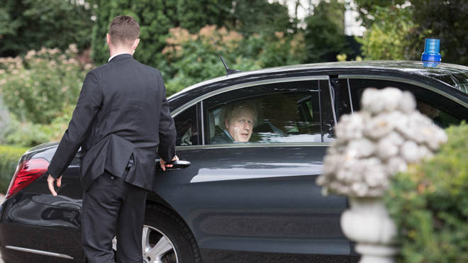 Boris Johnson pictured in Luxembourg yesterday