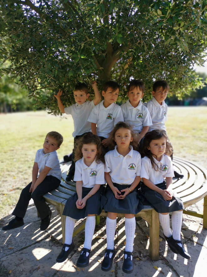 Two sets of triplets and a set of twins are starting school in the same class