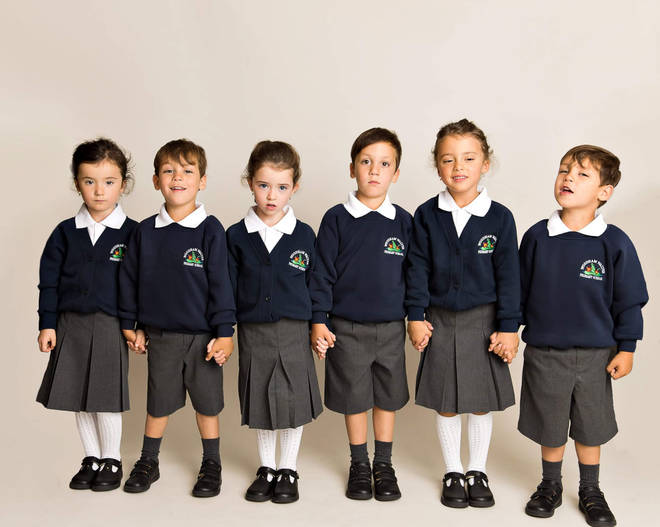 There are a set of boy triplets and a set of girl triplets in the class