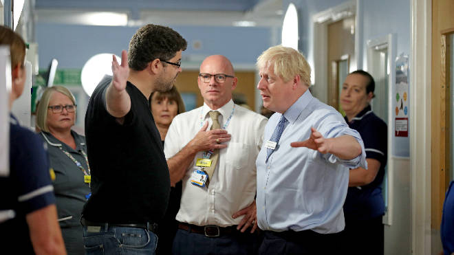 The father of a young girl, who is being treated in the Acorn childrens' ward, expresses his anger over hospital waiting times to Prime Minister Boris Johnson