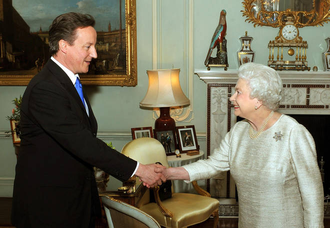 The Queen and David Cameron at their first meeting