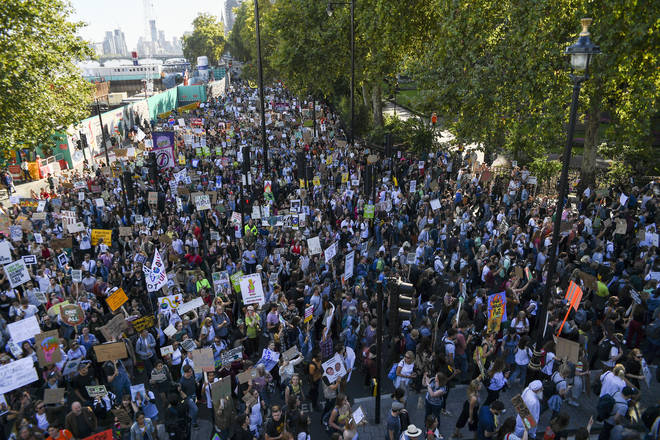 London protestors demonstrate about climate change