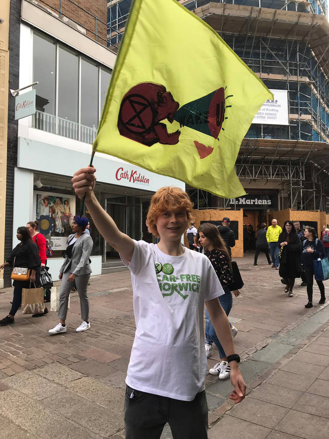 A committed protestor in Norwich city centre today