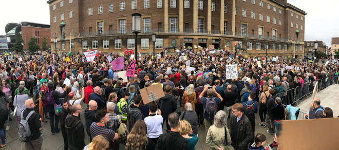 Panoramic shot of Norwich protest, outside City Hall