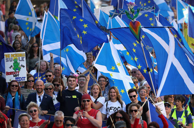 Thousands of demonstrators marched in Edinburgh in favour of remaining in the EU