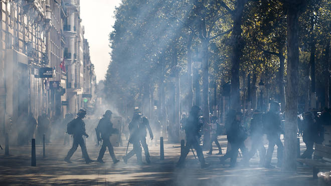 French riot police fired tear gas and sting-ball grenades at demonstrators
