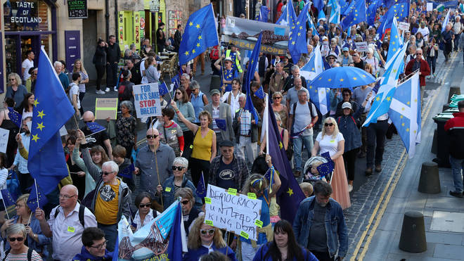 Protestors in Scotland march against Brexit