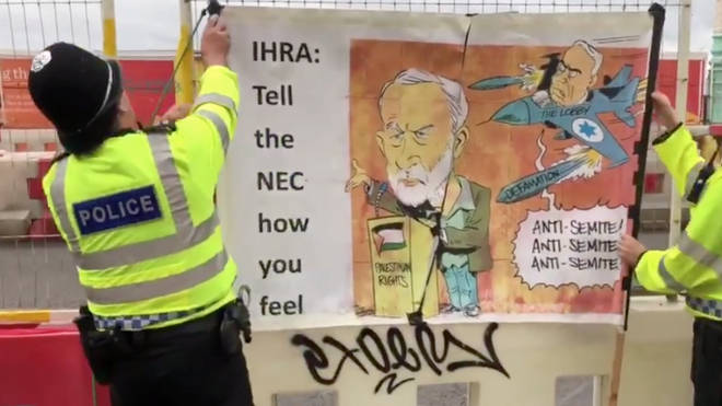Antisemitic Cartoon Displayed Outside Labour Party Conference