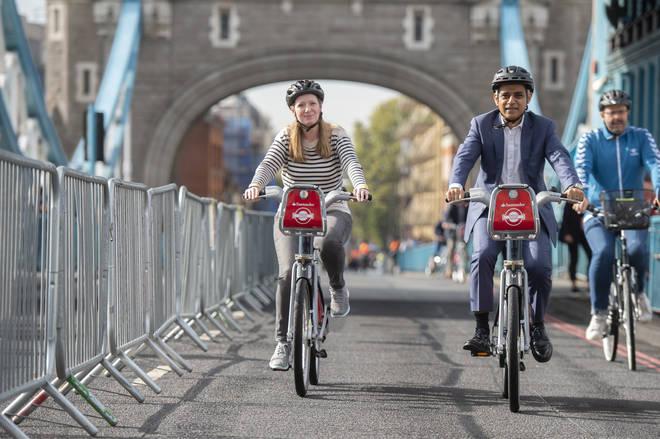 Sadiq Khan cycled across Tower Bridge during today's celebration