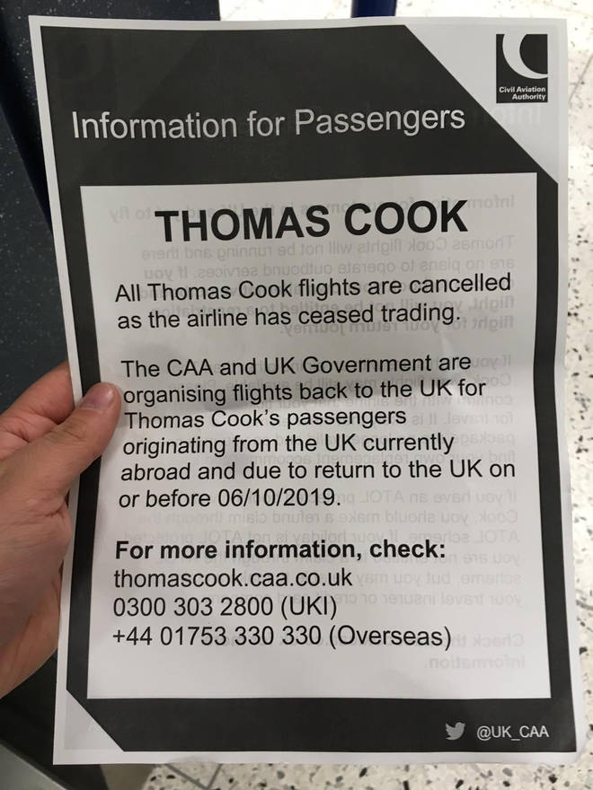 An information leaflet handed out to customer