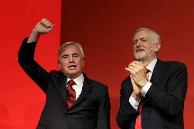 Labour leader Jeremy Corbyn and Shadow Chancellor John McDonell at the Labour Party conference