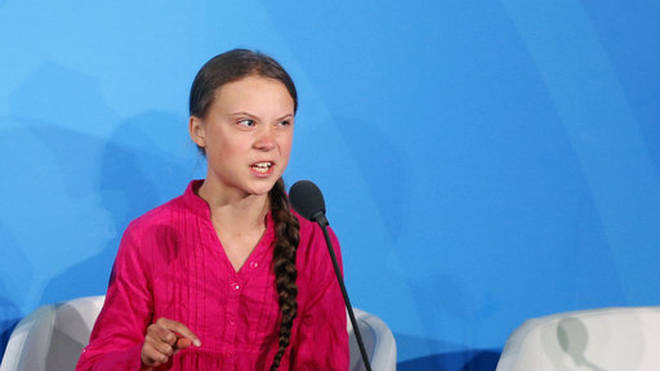 Greta Thunberg during her speech to the UN