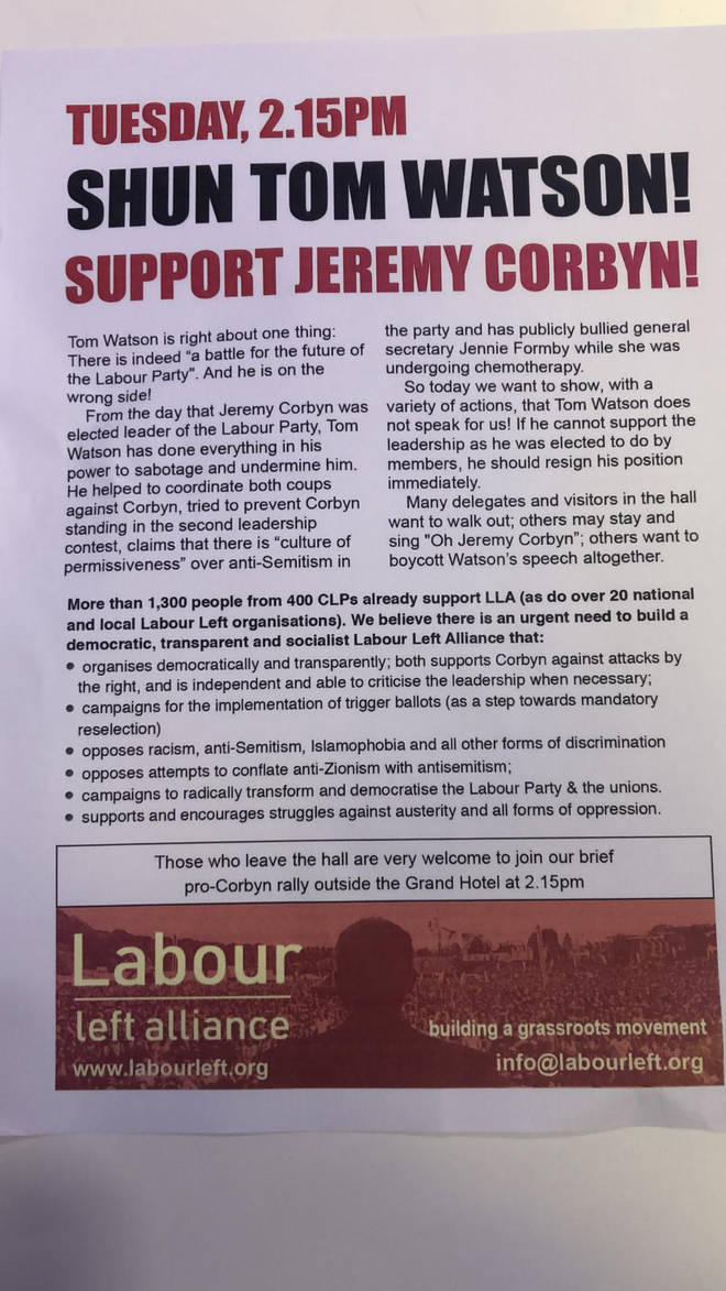 A leaflet is being handed out at Labour's conference calling for Mr Watson's resignation