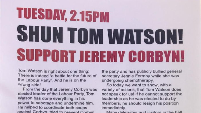 Corbyn Supporters Plan Tom Watson Speech Walkout At Labour Party Conference