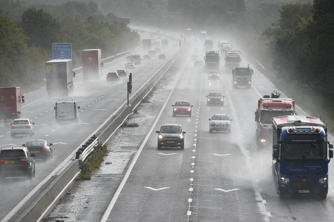 Cars travelling in heavy rain on the M4 in South Gloucestershire.