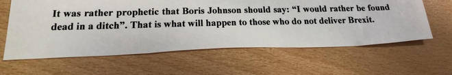 Jess Philips released a death threat she received this week, seemingly using Boris Johnson's words