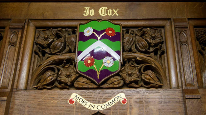 The coat of arms installed in the Commons to remember Jo Cx