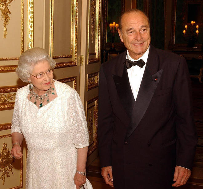 Jacques Chirac with Queen Elizabeth II following a State banquet at Windsor Castle.