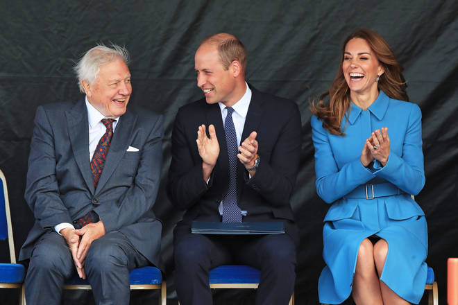 Sir David Attenbourgh joined the Duke and Duchess at the ship's naming ceremony