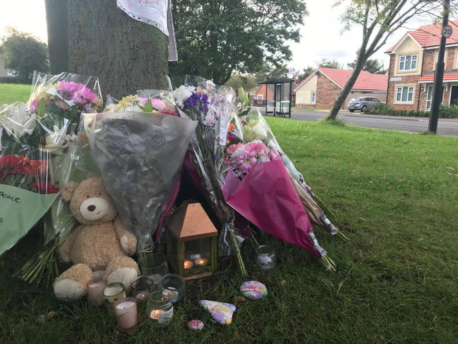 Tributes left at the scene where the young girl was killed