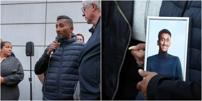 Chandima Daniel, father of Tashan Daniel, speaks at a vigil held outside the underground station in London