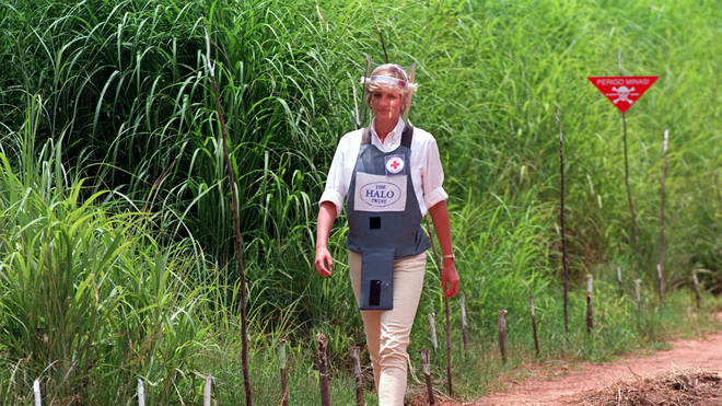 Diana famously walked through the partially cleared minefield
