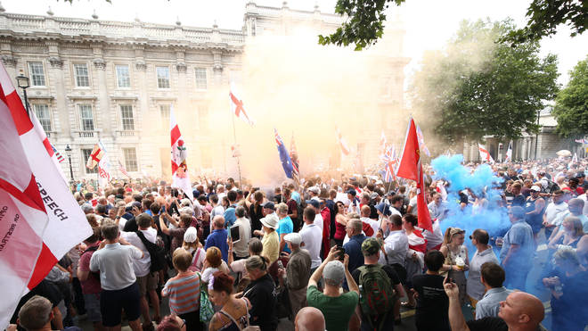 File pic. Taken at a pro-Tommy Robinson protest in July 2018