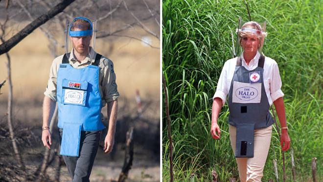Prince Harry in Angola, and right, the iconic picture of his mother
