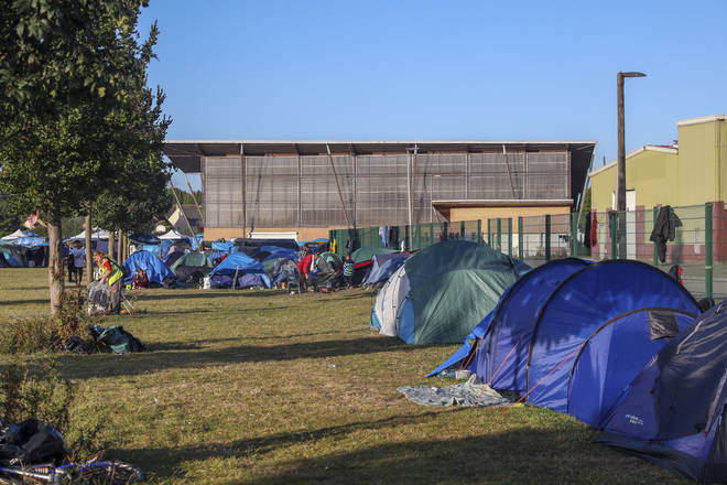 The Espace Jeunes du Moulin gym, where migrants are being held in Dunkirk