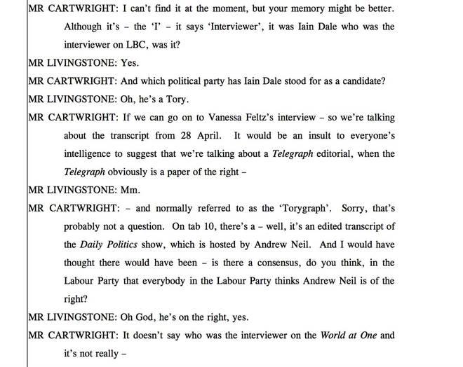 A transcript of Ken Livingstone's Labour hearing