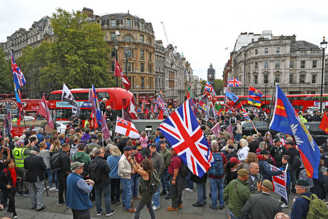Protesters gathered in Trafalgar Square to protest the murder charge of Solider F