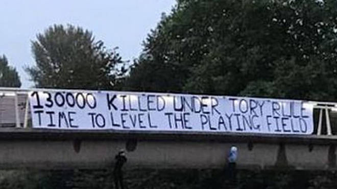 Manchester Momentum shared a picture of the banner on Twitter