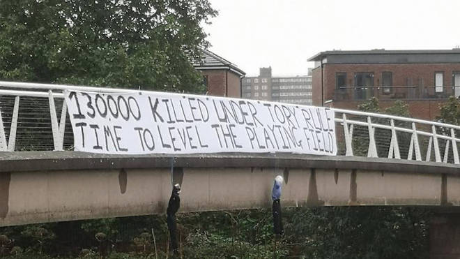 The banner in Manchester