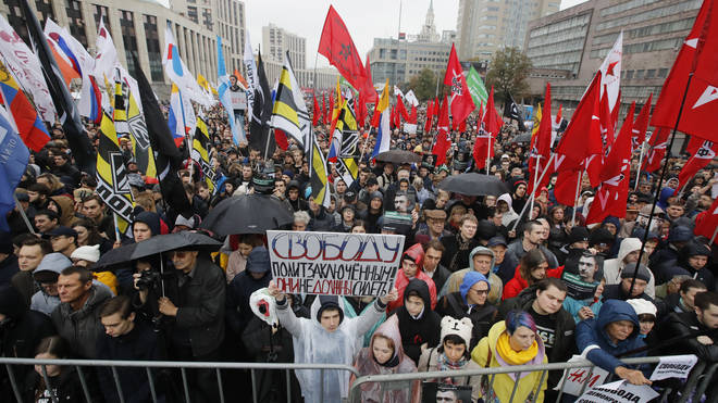 Protesters gathered in Moscow to demand that opposition activists be released
