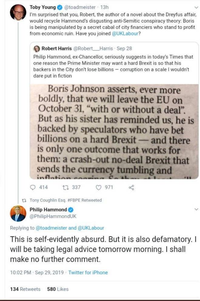 "Toby Young Apologises For ""Defamatory"" Philip Hammond Tweet"