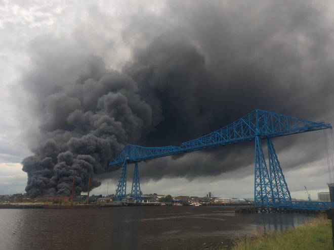 A large fire has broken out near Middlesborough College