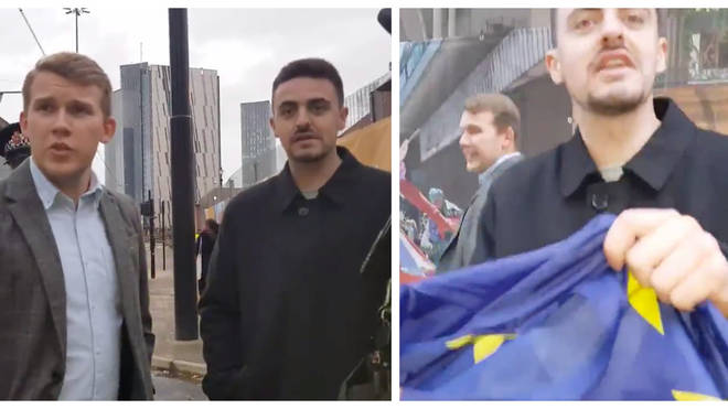 Councillor Sam Smith was accused of taking an EU flag from protestors