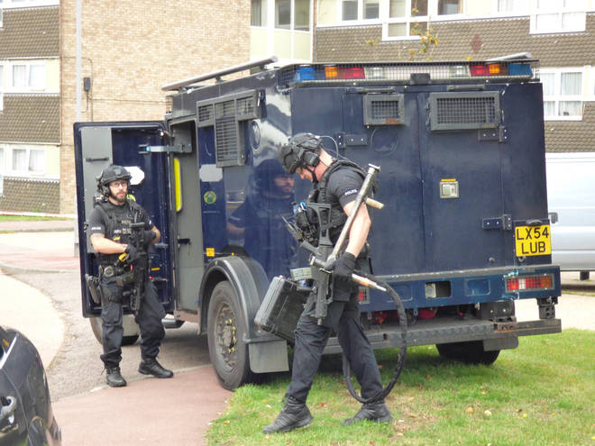 Armed police were spotted at the scene in Southend