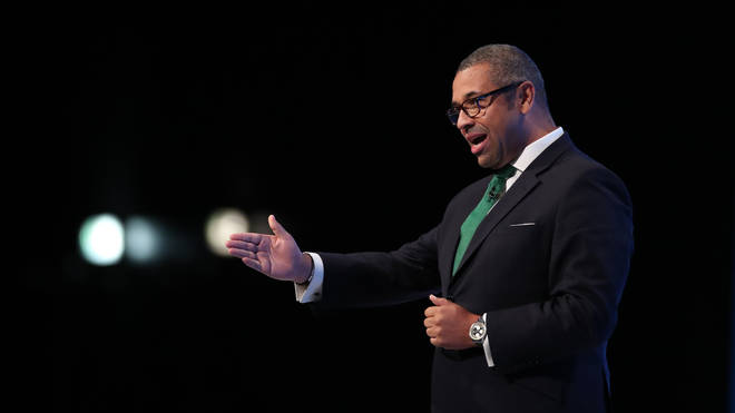Conservative Party Chairman James Cleverly speaking at the Conservative Party Conference
