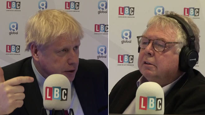 Nick Ferrari speaking to Boris Johnson at LBC's studio at the Conservative Party Conference