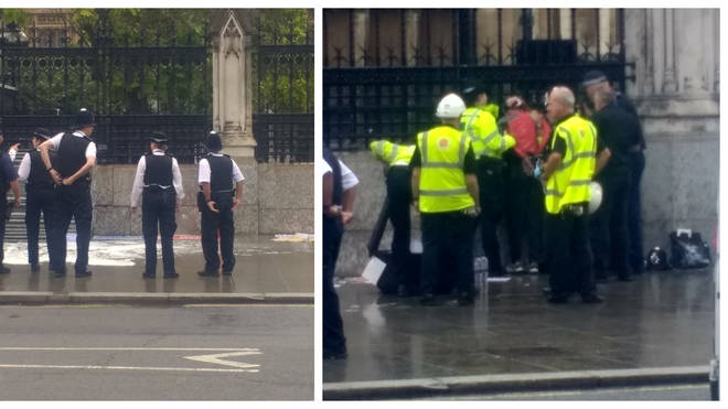 A man has allegedly poured petrol on himself outside the gates of Parliament