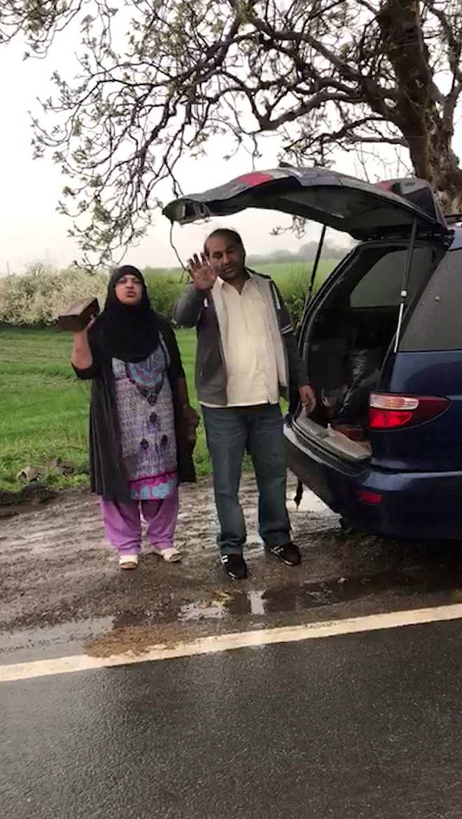 The man confronted the pair on a roadside near Wakefield, West Yorkshire
