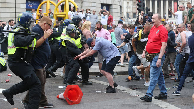 Crowds near Trafalgar Square clashed with police