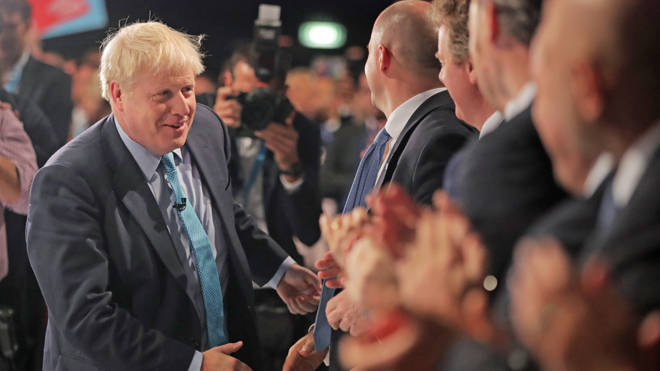 Boris Johnson was delivering his keynote speech to the Tory conference today