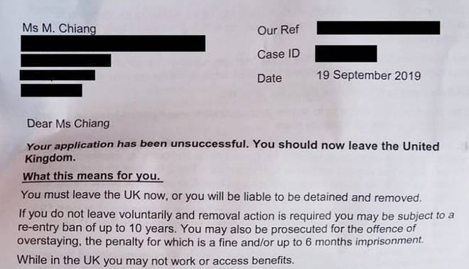The letter from the Home Office telling Dr Chiang she must leave the UK