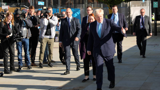 Boris Johnson arrives in Manchester to deliver his speech