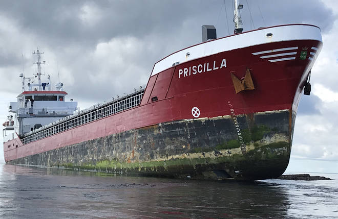 The MV Priscilla grounded in the Pentland Skerries off Orkney last year
