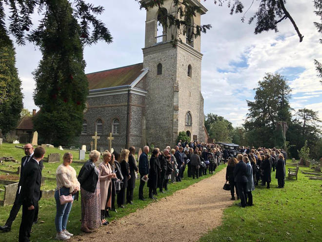 The funeral procession of Libby Squire at St Lawrence's Church in West Wycombe, Buckinghamshire